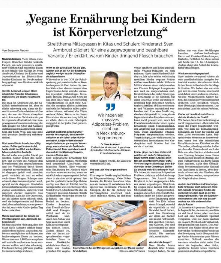 Die Ostseezeitung über gesunde Ernährung