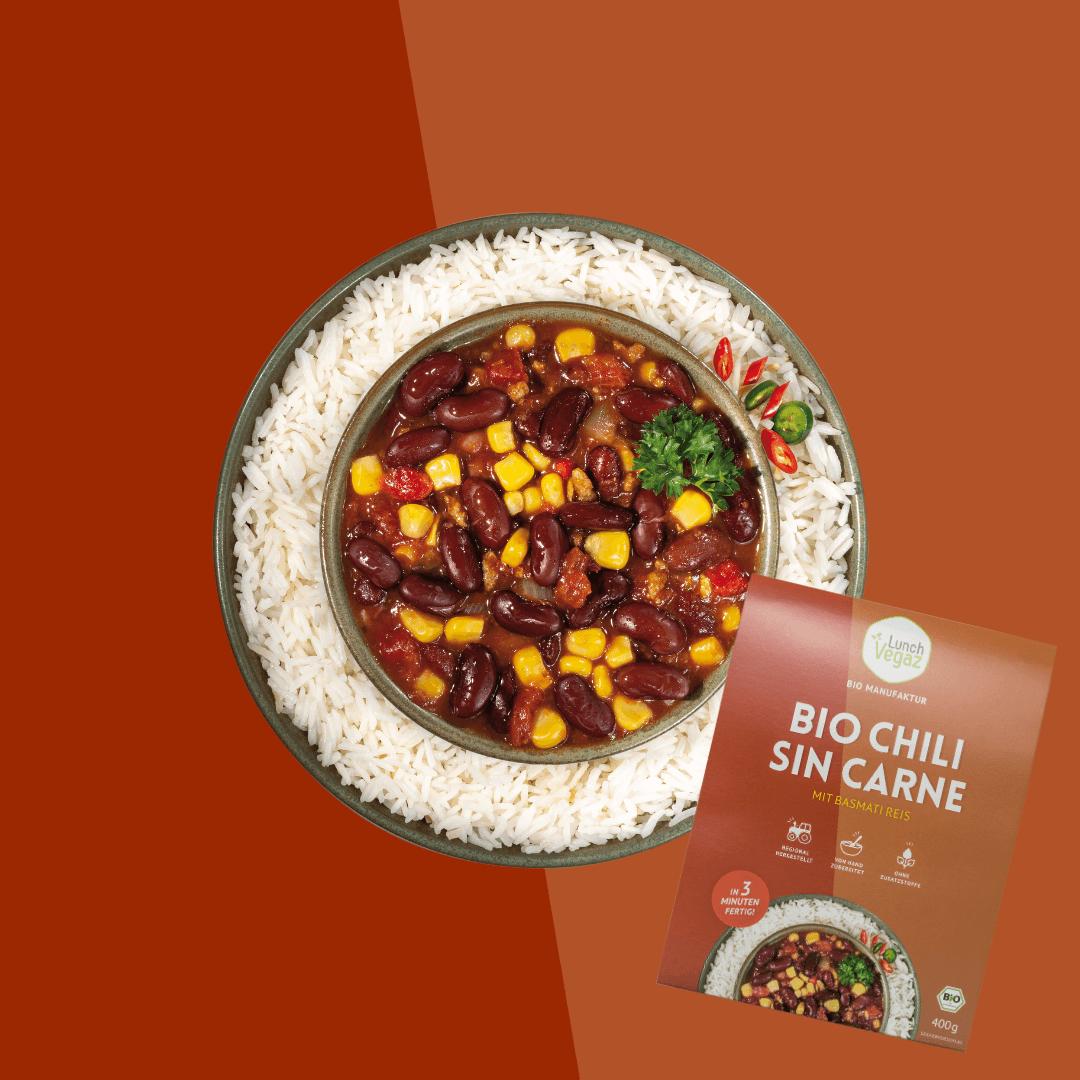 LunchVegaz bietet eine große Auswahl an gesungen Fertiggerichten wie das leckere Chili sin Carne.