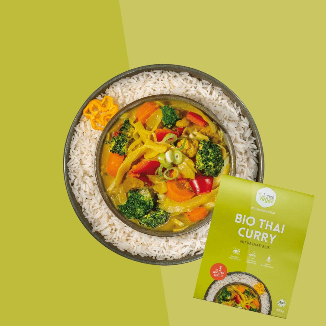 LunchVegaz bietet eine große Auswahl an gesungen Fertiggerichten wie das leckere vegane Thai Curry.